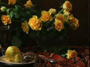 Truck concrete mixer, shawl, roses, glasses, Yellow