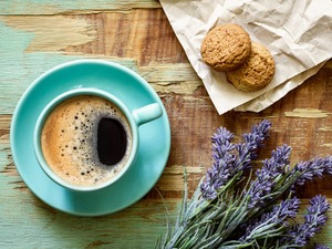 coffee, lavender, Cookies, cup