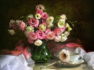 Flowers, Eustoma, cup, bouquet