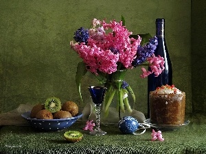 Wine, hyacinths, cake, Red, bouquet, kiwi, Easter egg