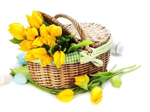 eggs, Easter, Tulips, basket, yellow