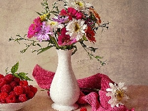 flowers, raspberries, pottery, bouquet, White