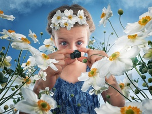 Camera, Funny, Flowers, Anemones, girl