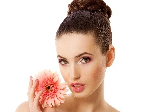 Women, Colourfull Flowers, Gerbera, make-up