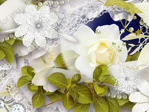 green ones, White, lace, decoration, leaves, roses
