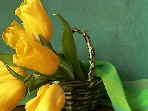Green, textile, Tulips, basket, Yellow