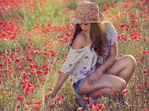 Meadow, girl, Hat, papavers
