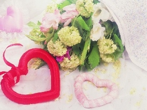 heart, bouquet, flowers