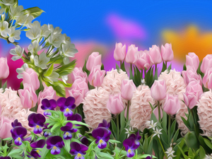 pansies, Tulips, graphics, Hyacinths, Flowers, twig, Spring