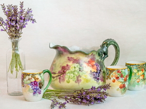 cups, lavender, painted, jug, composition