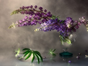 bowl, Leaf, lupine, cup, bouquet
