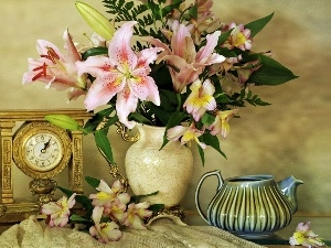 jug, bouquet, Tiger lily, Clock