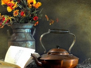 copper, bouquet, Metal, pitcher, kettle, flowers