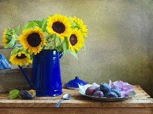 Nice sunflowers, Still, nature, plums