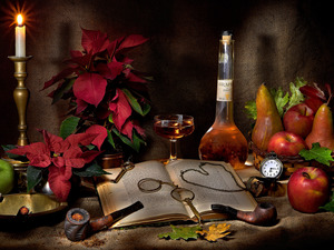 pipe, candle, apples, Wine, truck concrete mixer, star of Bethlehem, Book, composition, Bottle, Watch