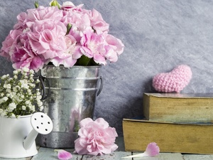 Bucket, Flowers, Books, Heart, watering can, Clove Pink