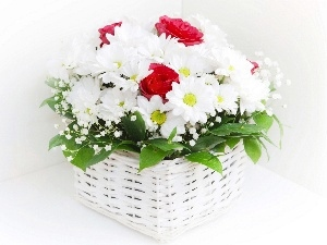 Red, roses, White, daisy, basket