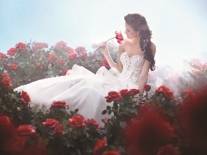 Women, Dress, roses, White