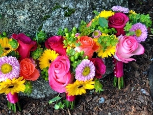 color, flowers, Stone, bouquets