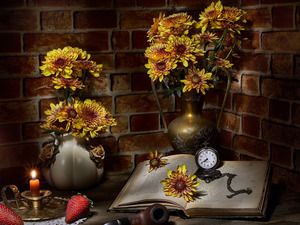 Book, Flowers, Candle, strawberries, alarm clock, Chrysanthemums