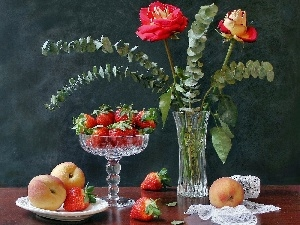 strawberries, composition, roses, plateau, Flowers