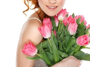 Tulips, Women, Smile