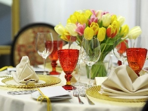Tulips, service, table