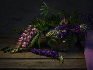 lupine, Pink, Vase, Violet, Flowers, glass, bouquet