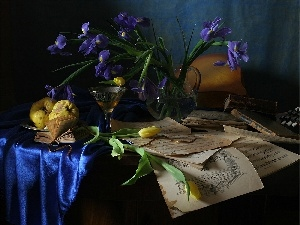 wine glass, Wines, Irises, Tulips, composition