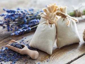 Wooden, teaspoon, lavender, Bags, composition